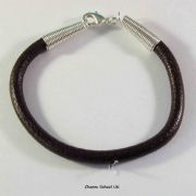 7 inch x 5mm Brown Leather Bracelet